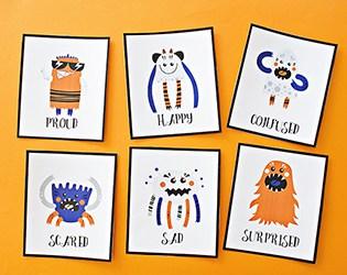 PRINTABLE MONSTER EMOTION CARDS FOR KIDS