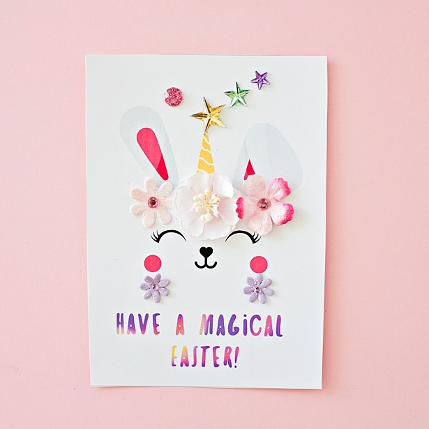 bunny unicorn easter cards