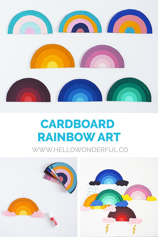Make this simple cardboard rainbow art with kids