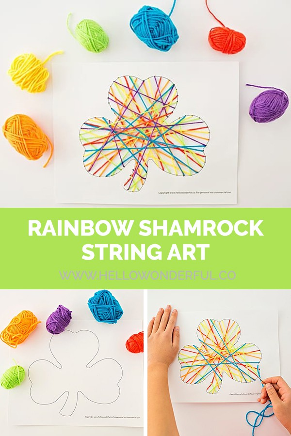 Rainbow Shamrock String Art - a St. Patrick's Day Craft for kids (free printable included).
