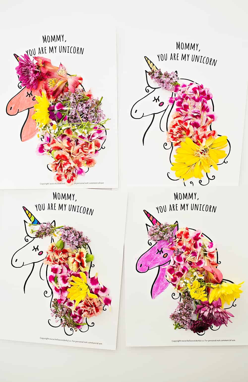 Mothers Day Unicorn Flower Art