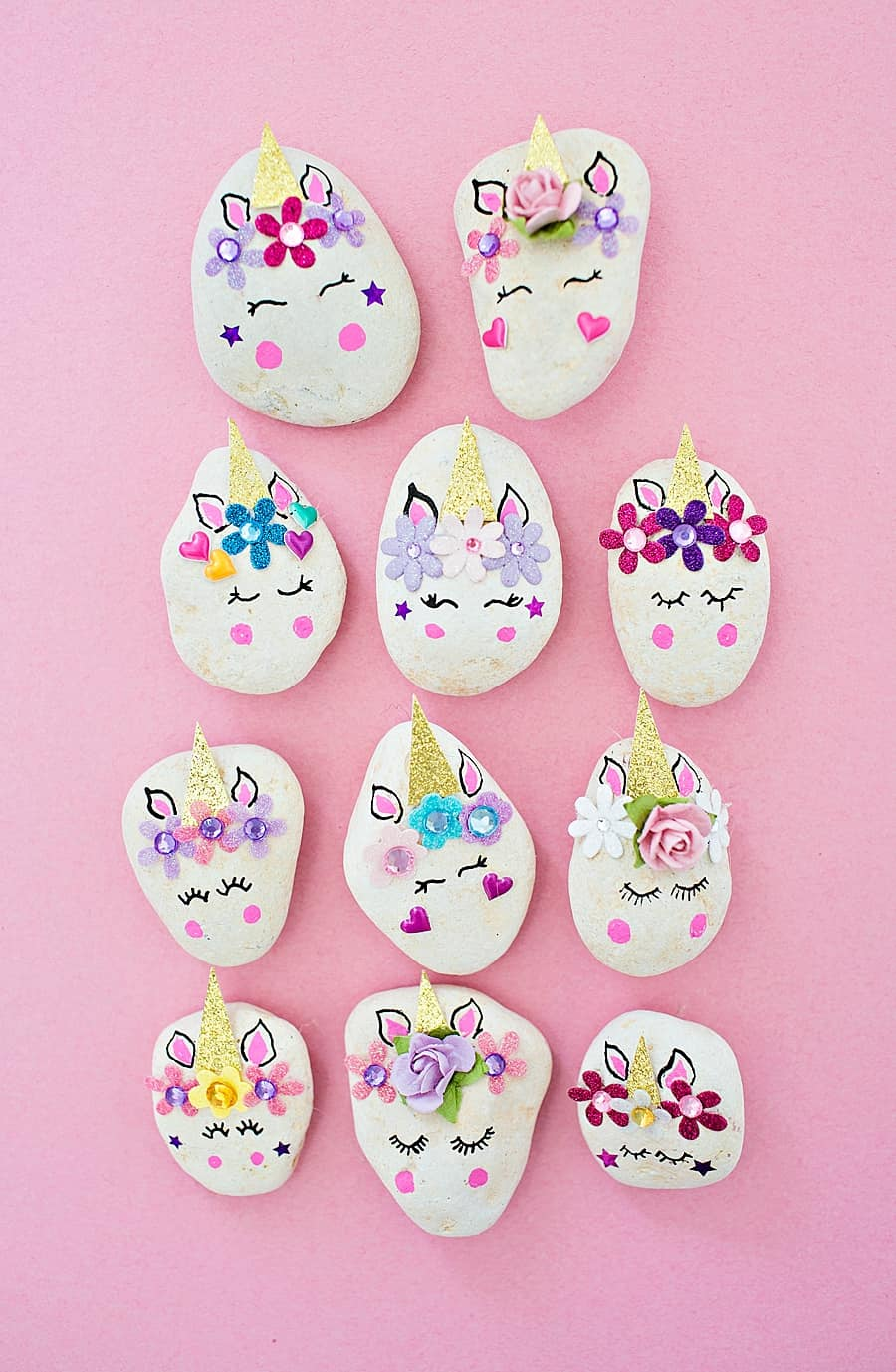]DIY Unicorn Rocks! Cute and easy kids craft idea! #diy #kidscraft #unicorndiy #unicorn #unicorntheme #unicorncraft