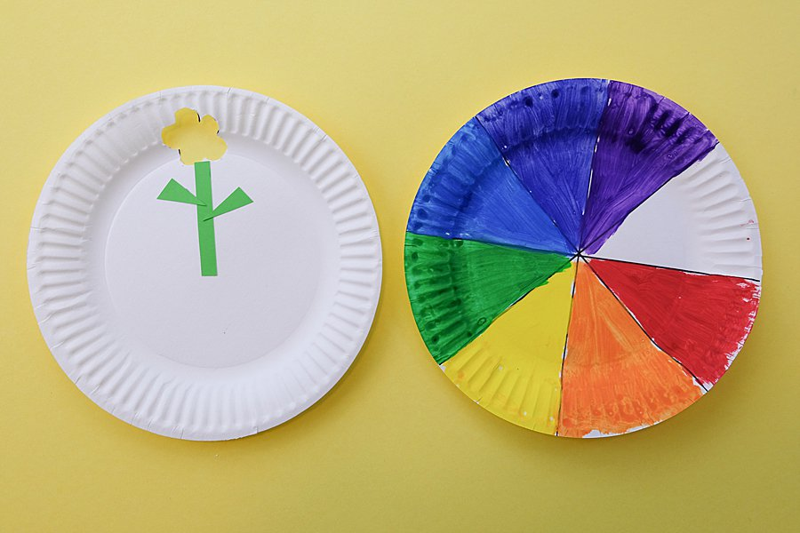 rainbow paper plate flower learning toy