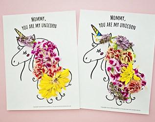 MOTHER'S DAY UNICORN FLOWER ART