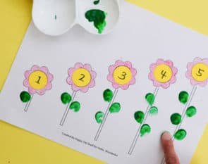 Turn color, number matching, counting and sequencing skills into a game with four fun flower activities for kids (with free printable template).