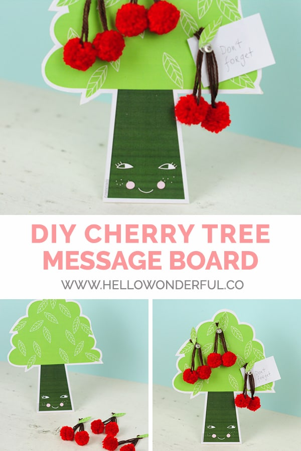 Create a DIY cherry tree message board with this cute free printable!