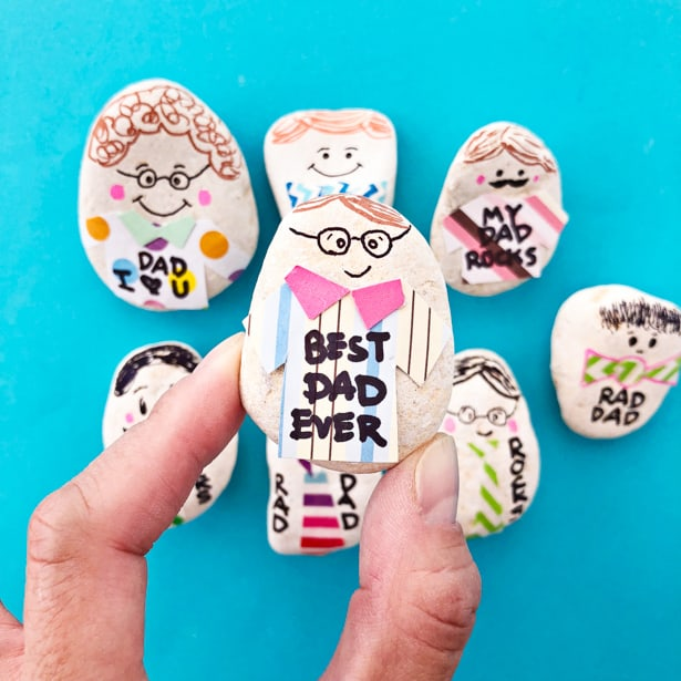 Make dad a whole family of personalized paperweight rocks for a fun Father's Day craft and useful gift!
