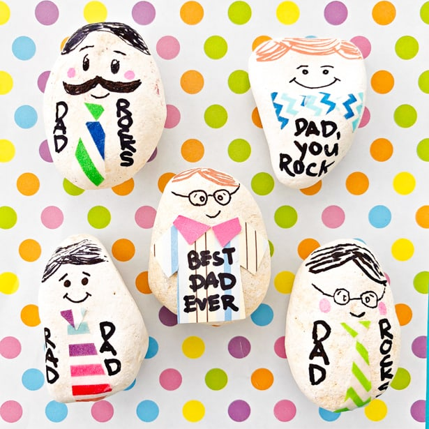 Make dad a whole family of personalized paperweight rocks for a fun Father's Day craft and useful gift with our my dad rocks craft tutorial!