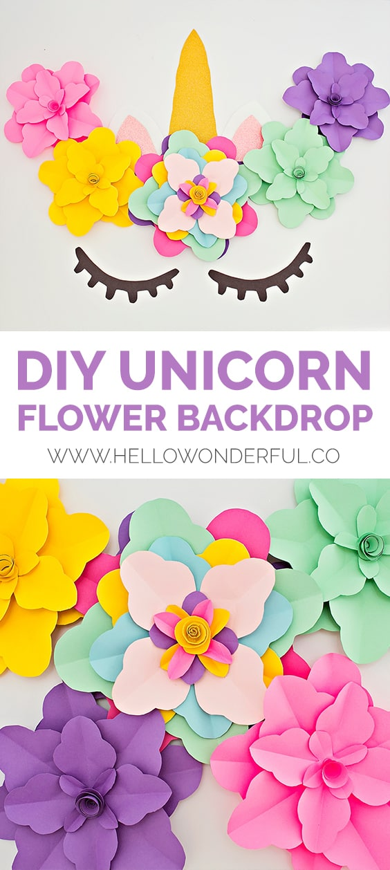 Create a beautiful and easy DIY unicorn flower backdrop for party decor (with free printable templates).