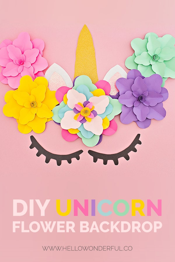 photograph about Free Printable Unicorn Template identified as Do-it-yourself UNICORN FLOWER BACKDROP - Hi Spectacular
