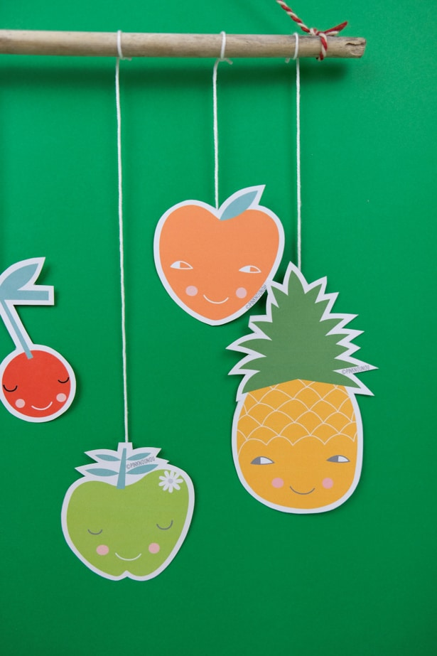 Create a simple and lovely fruit mobile with our free printable!