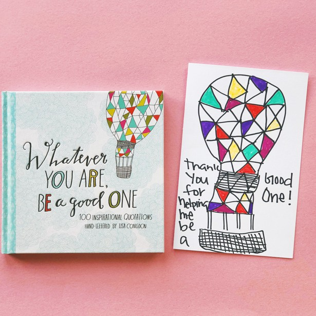 This cute homemade card and beautiful book of illustrated quotations makes the perfect teacher's gift!