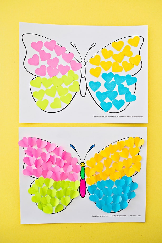 Make a cute summer butterfly craft from cut-out hearts!