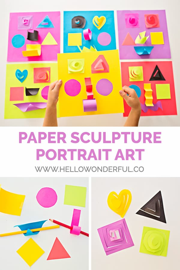Make easy paper sculpture portraits - a fun art craft for kids! From hello, Wonderful