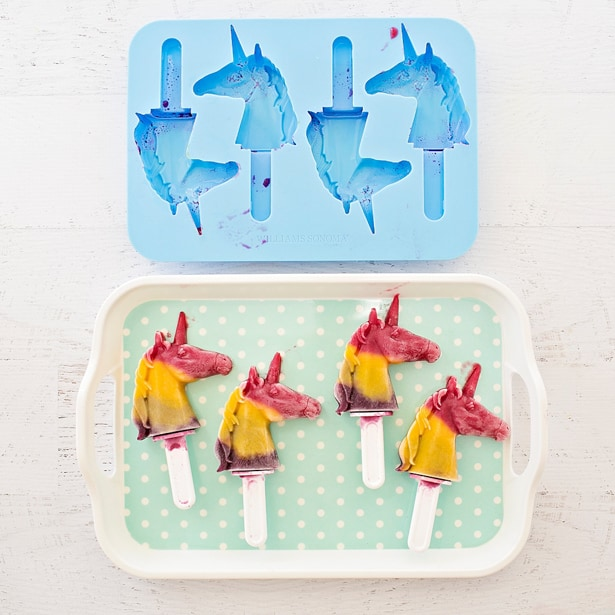 Make your own healthy and delicious rainbow unicorn fruit (and vegetable!) pops - a refreshing summer treat for kids!