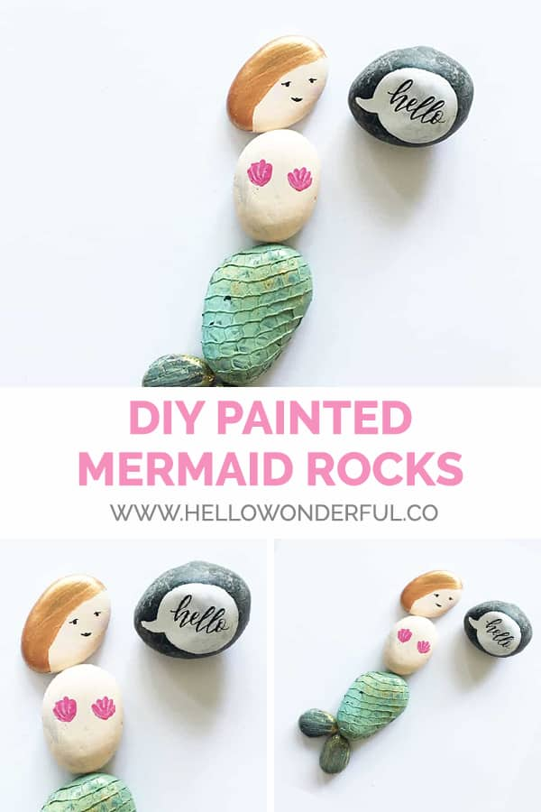 DIY Painted Mermaid Rocks from hello, Wonderful