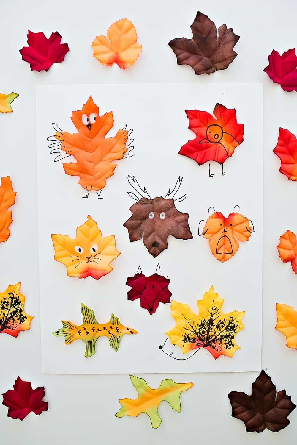 Use the free printable leaf template as a guide for kids to create their  own adorable Leaf Animal Art!