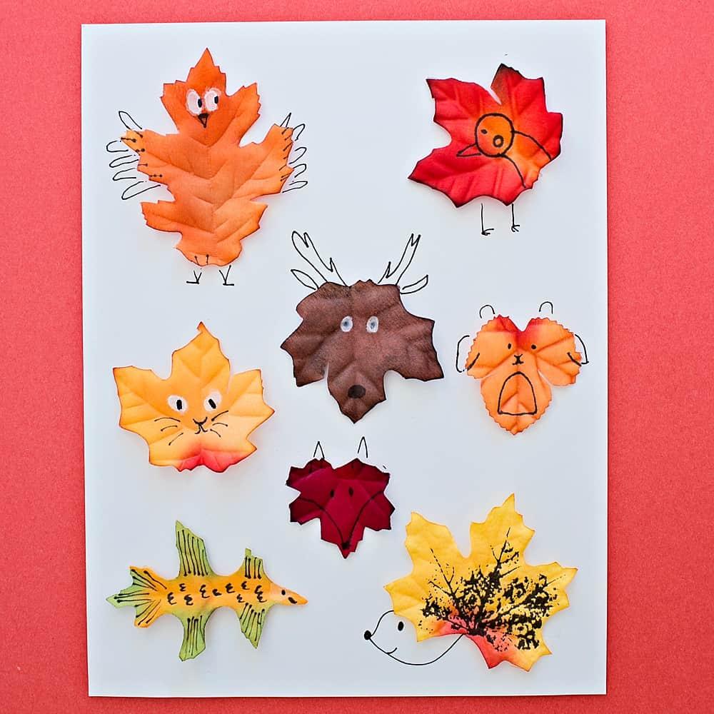 Leaf Animal Art With Template Hello Wonderful