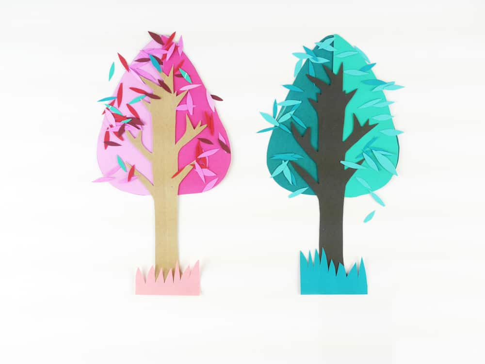 Teach kids the joy of seasonal changes while making some beauriful art with a simple and modern 4 seasons tree paper craft