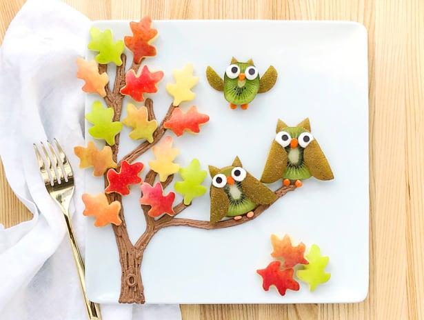 owl fall fruit art hello wonderful