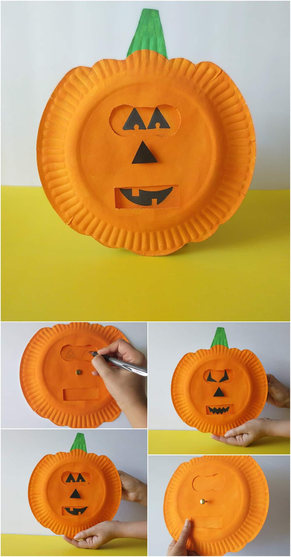 Help kids explore emotions using this simple shapes of jack-o-lantern faces with this fun seaosnal pumpkins emotion craft!
