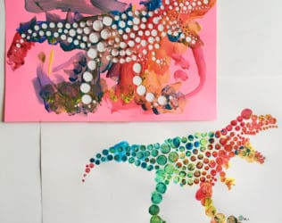 Create fun dinosaur pointillism art with a free template!