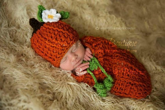 crocheted baby pumpkin hat and sack