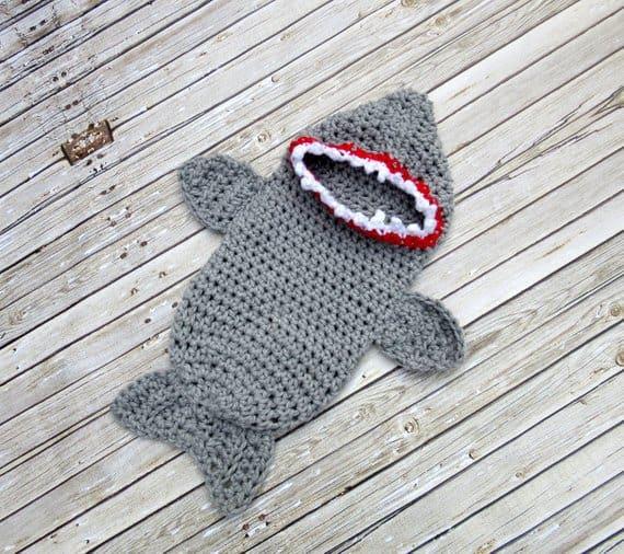 crocheted newborn baby shark costume