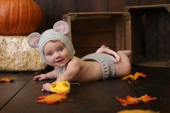 crochet mouse newborn baby costume