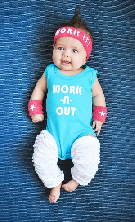 80s workout newborn baby costume
