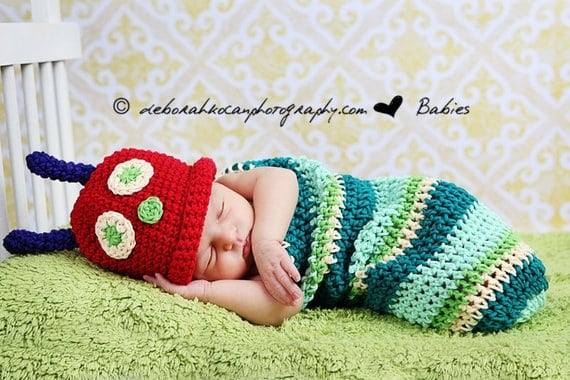 crochet Newborn Caterpillar Halloween Costume