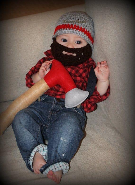 newborn baby crocheted hat with beard