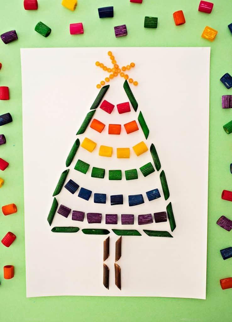 Rainbow Pasta Christmas Tree Craft Hello Wonderful