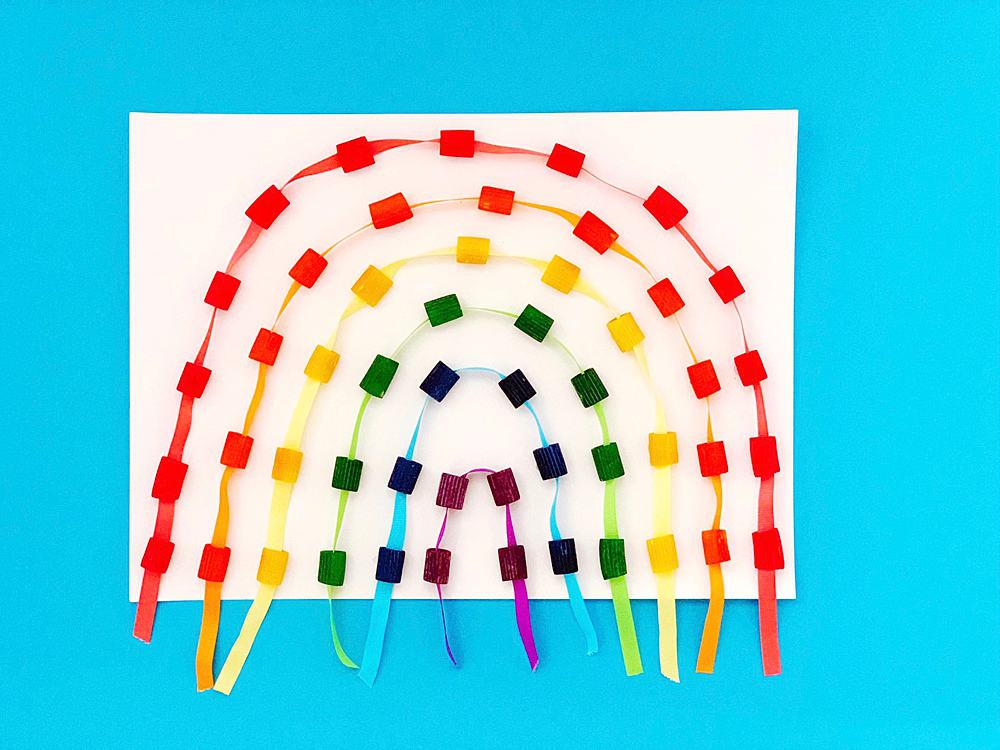 Image result for threading pasta rainbow craft