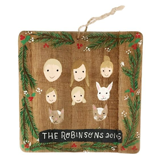 wooden ornament family portrait idea