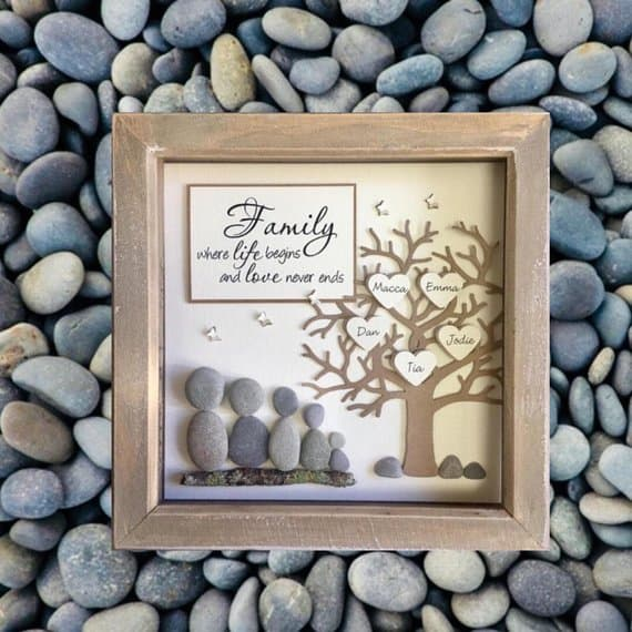 pebble rock family portrait idea