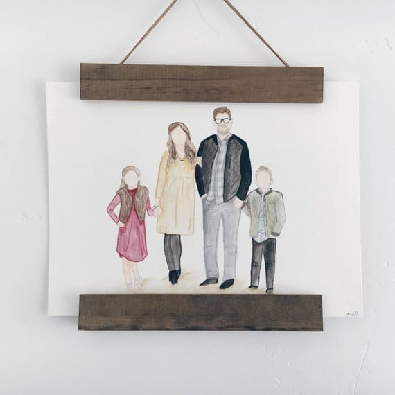 watercolor family portrait idea