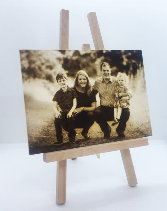 wood etched family portrait idea