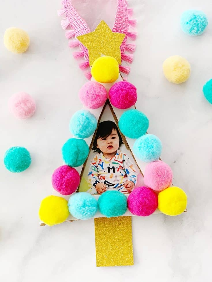 POM POM TREE PHOTO ORNAMENT CRAFT