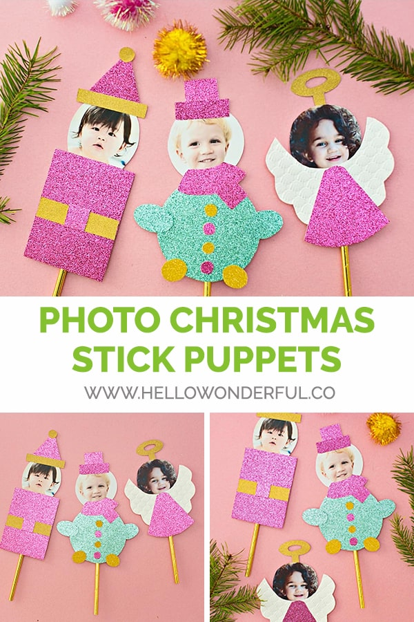 DIY Photo Christmas Stick Puppet Craft