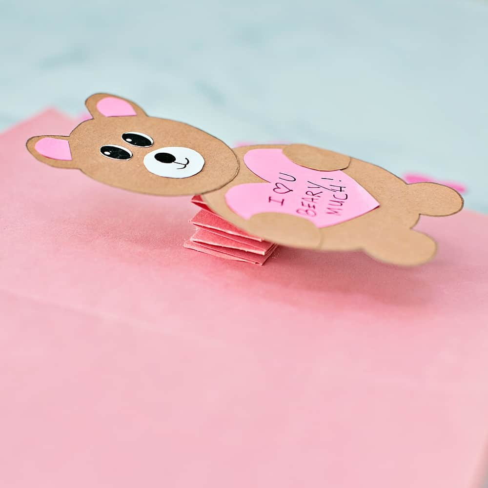 side view of the bear card