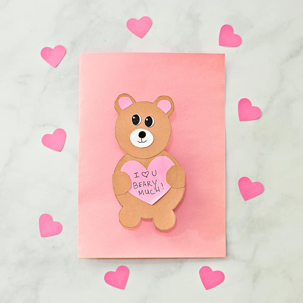 EASY VALENTINE BEAR CARD