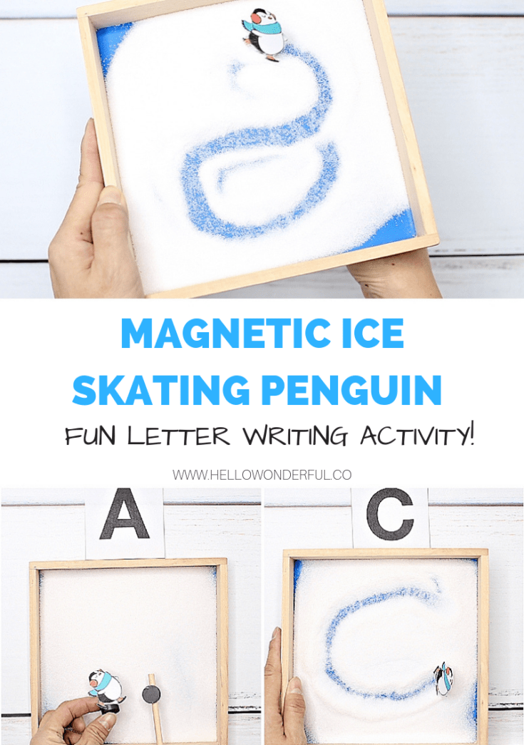 MAGNETIC ICE SKATING PENGUIN LETTER WRITING ACTIVITY