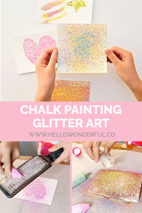 Make beautiful glitter art with sidewalk chalk!