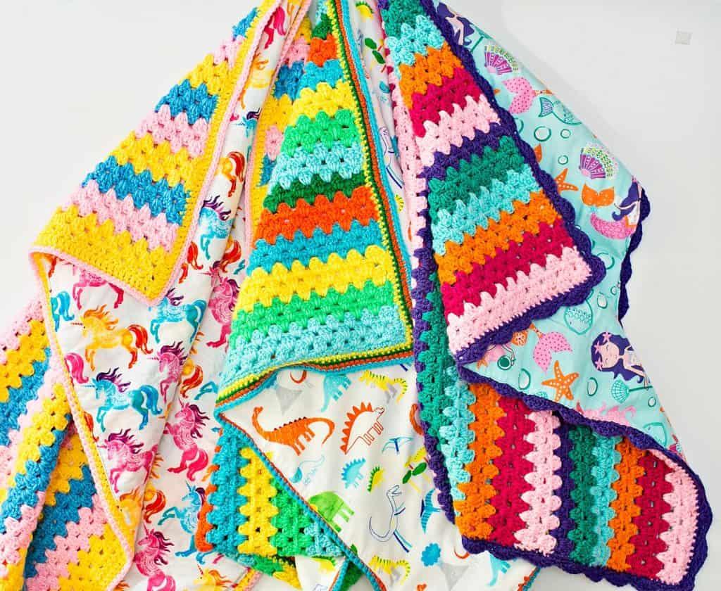 Handmade Reversible Crochet Blankets For Kids Hello