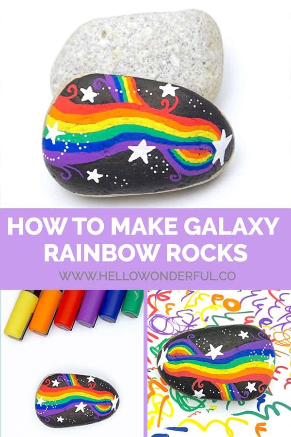 Paint galaxy rainbow rocks!