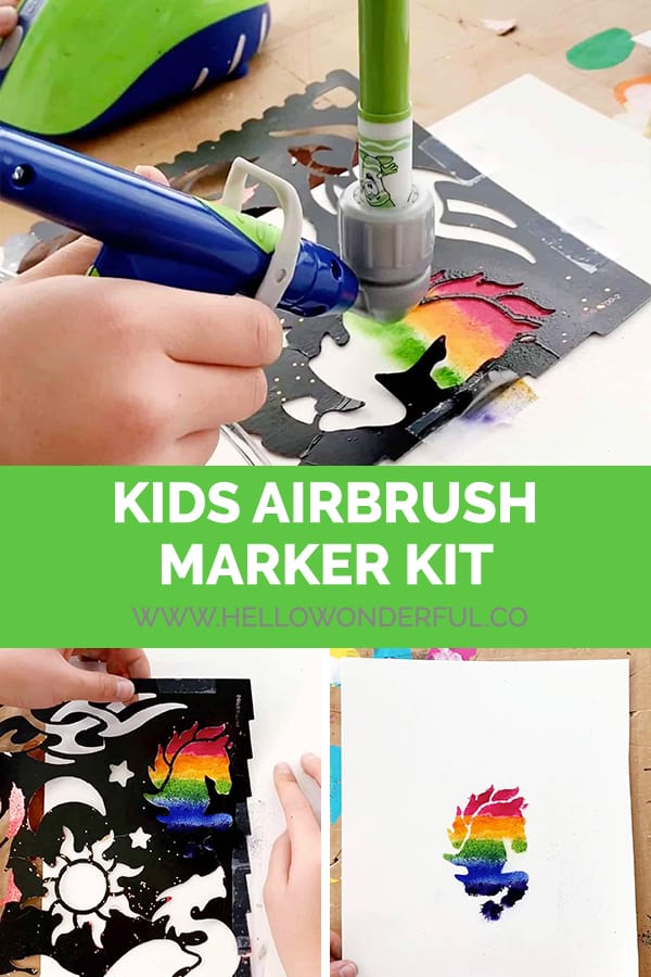 Your kids can use this fun airbrush marker kit to create beautiful artwork!
