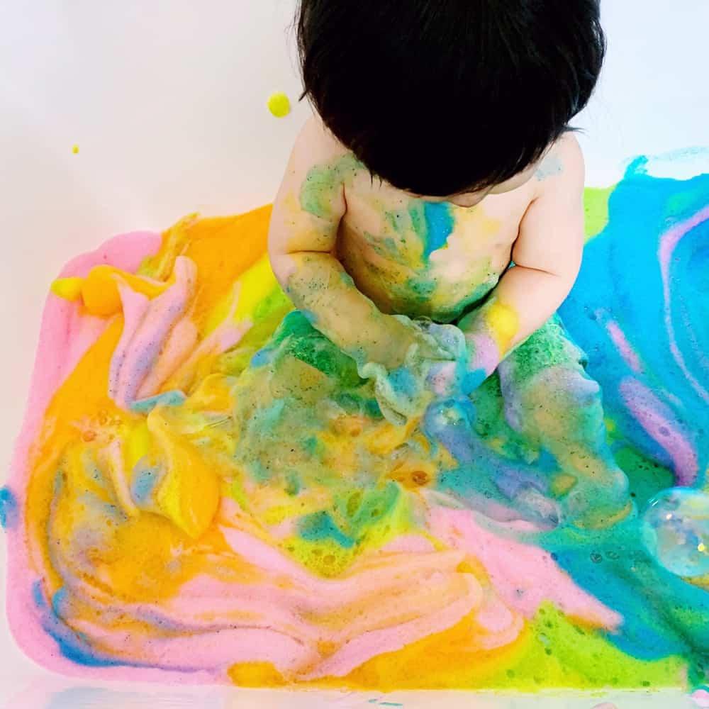 RAINBOW SOAP FOAM SENSORY PLAY - Hello Wonderful