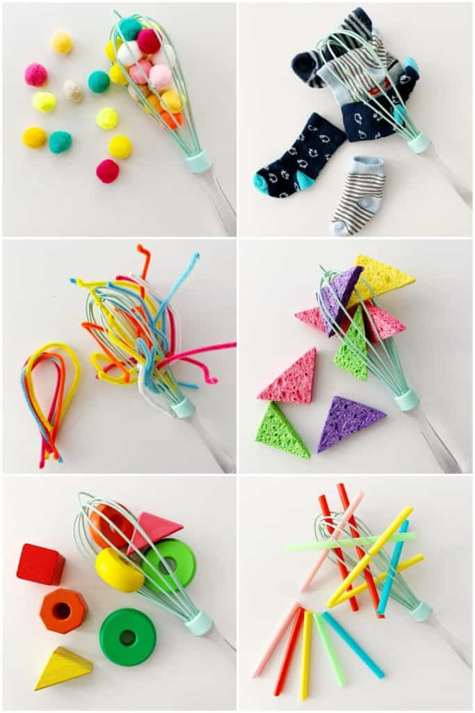 kitchen whisk ideas for baby fine motor skills and sensory activities