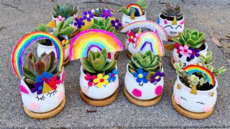 DIY UNICORN PLANTERS WITH EARTH DAY TEMPLATE